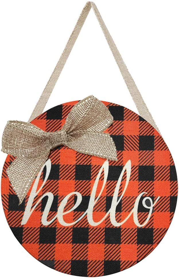 Fall Wreaths for Front Door - Orange Buffalo Check Plaid Burlap Hello Sign Door Hanger - Fall Home Wreath Welcome Signs for Autumn Halloween Thanksgiving Harvest Farmhouse Porch Wall Decorations