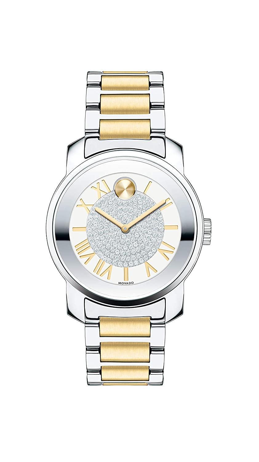 Movado Women s BOLD Luxe Two Tone Watch with Roman Index Dial, Silver Gold Model 3600256