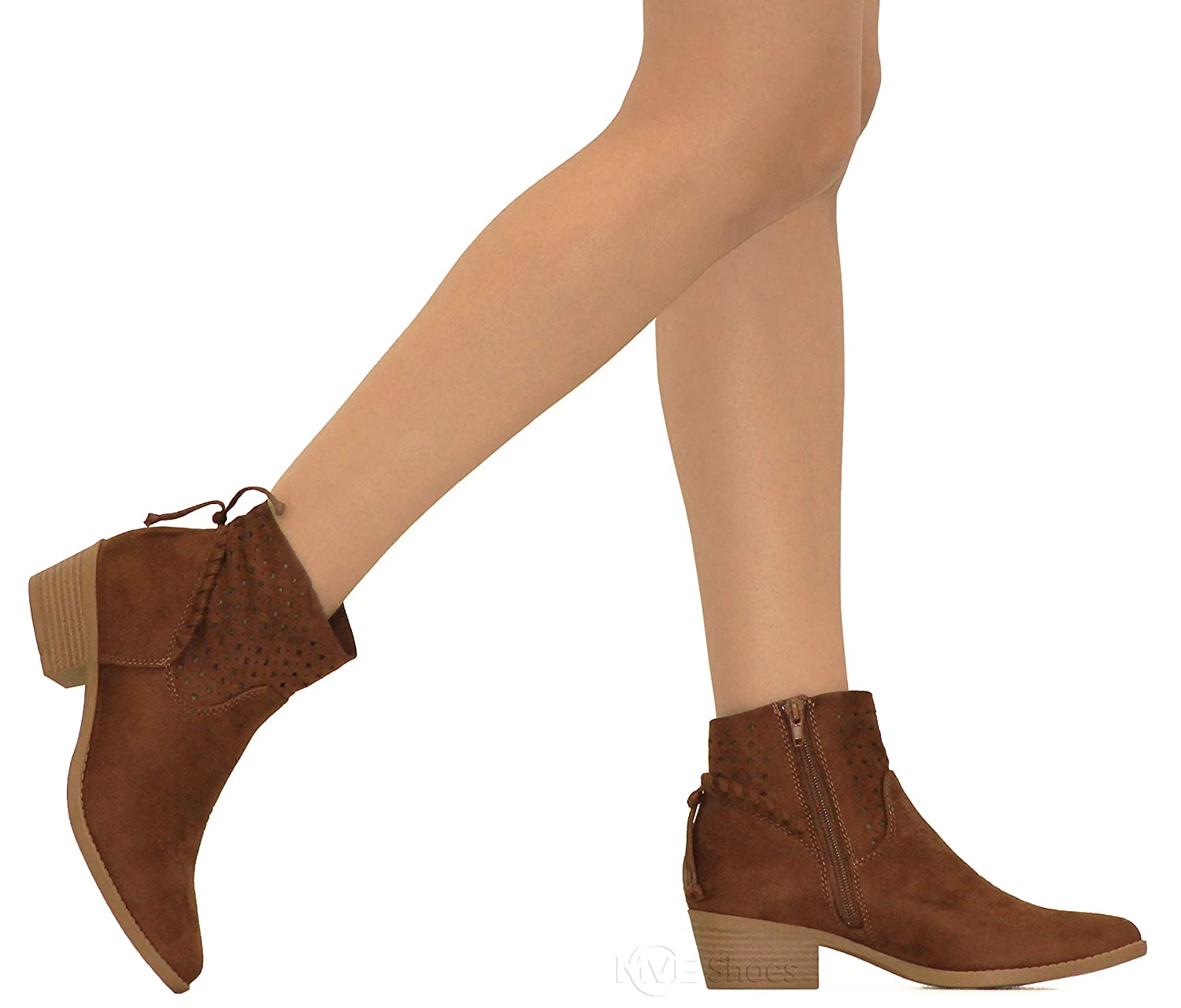 MVE Shoes Womens Chunky Heel Strappy Almond Toe Ankle Bootie