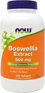 Now Boswellia Serrata Extract 500 mg, 200 Softgels - Tree Gum Resin in MCT Oil Base - Herbal Supplement
