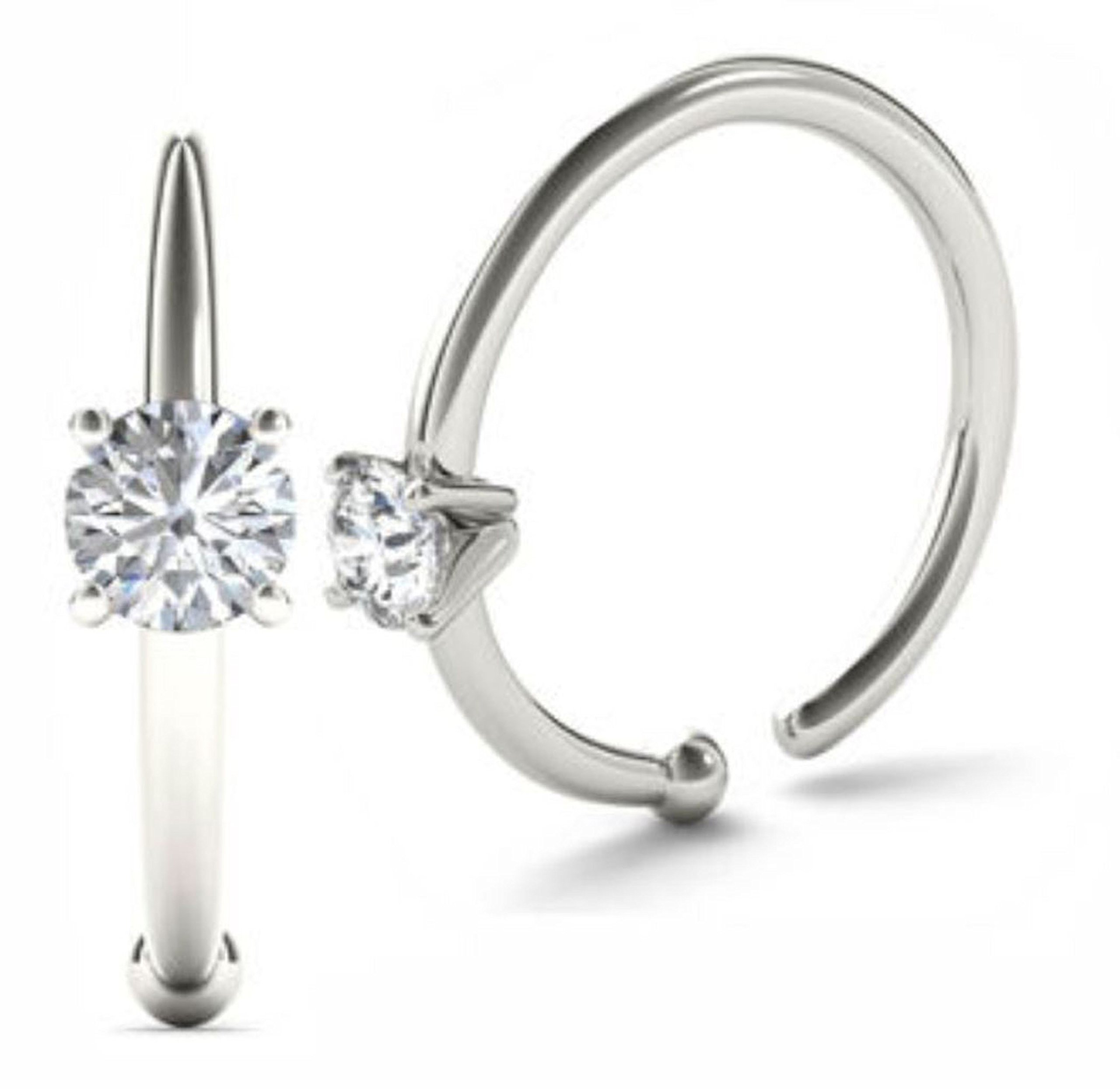 JewelMore 0.02ct Diamond Nose Ring Hoop - 14K White Gold or Yellow Gold (White Gold)