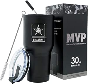 30 oz Army Black Double Wall Vacuum Insulated Stainless Steel Army Tumbler Travel Mug - Soldier Deployment Gifts