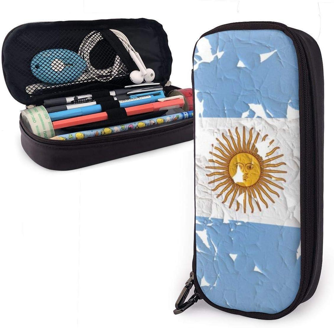 Old Sun Argentina Flag Bolso de cuero de la caja de lápices de la PU Bolso, organizadores de papelería duraderos para estudiantes para la oficina escolar