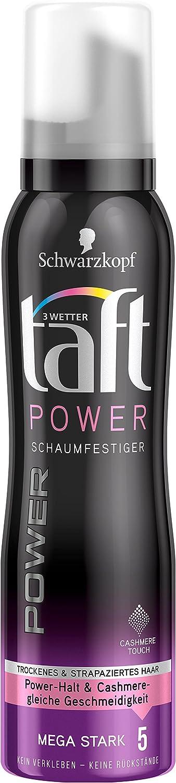 Schwarzkopf 3 Wetter Taft Schaumfestiger, Power Cashmere Touch Mega Starker Halt 5, 6er Pack (6 x 150 ml) TBP11
