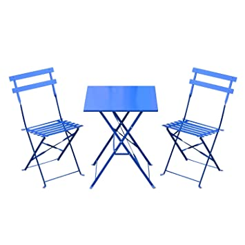 outsunny 3pc bistro set garden balcony folding metal table chair