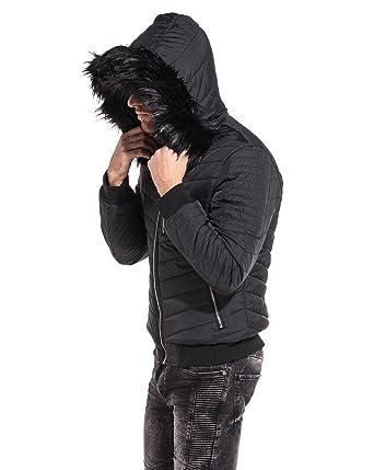1264f0ac7203 PROJECT X - Doudoune Courte Homme Noire à Capuche Fourrure Noire - Couleur   Noir -