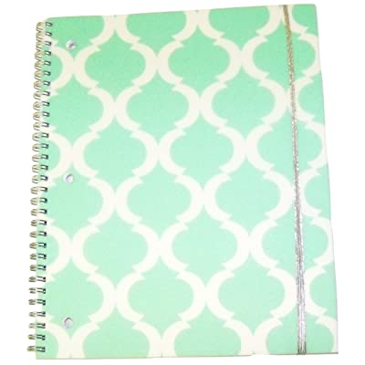 "Carolina Pad Studio C College Ruled Poly Cover Spiral Notebook with Metallic Elastic Closure ~ Pattern Play (Green and White Design; 8.5"" x 10.5""; 80 Sheets, 160 Pages): Toys & Games"