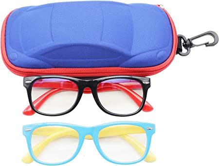Kids Blue Light Blocking Glasses Flexible Silicone Frame Computer Gaming Glasses for Boys Girls UV400 Protection Age 3-12