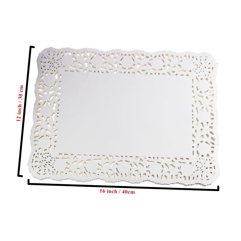 Papel rectangular de encaje blanco para decoraci/ón de tartas LJY