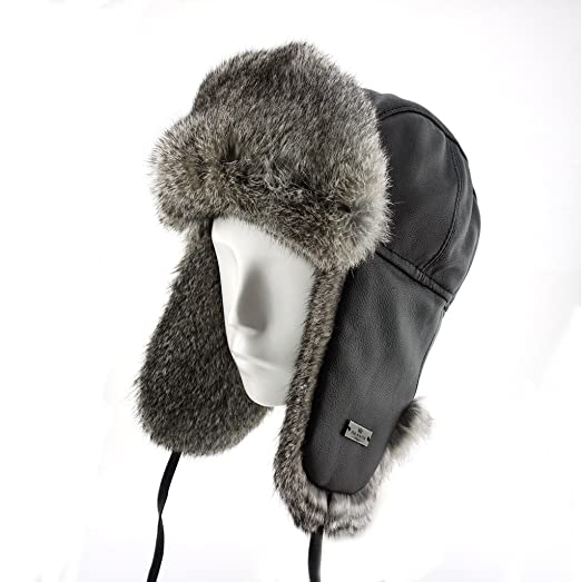 FUR WINTER Lamb Leather Rabbit Fur Aviator Pilot Trapper Trooper Hat BLK M 1d52250efd0d