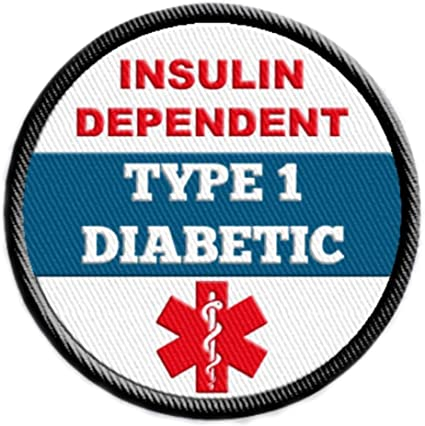Medical Alert Embroidered Patches Diabetic Type 1