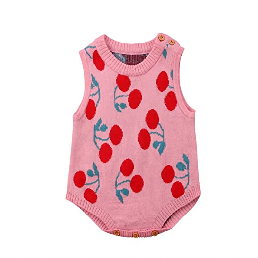 c4fa72a28 Amazon.com  Newborn Infant Baby Girls Clothes Knitted Cherry Romper ...