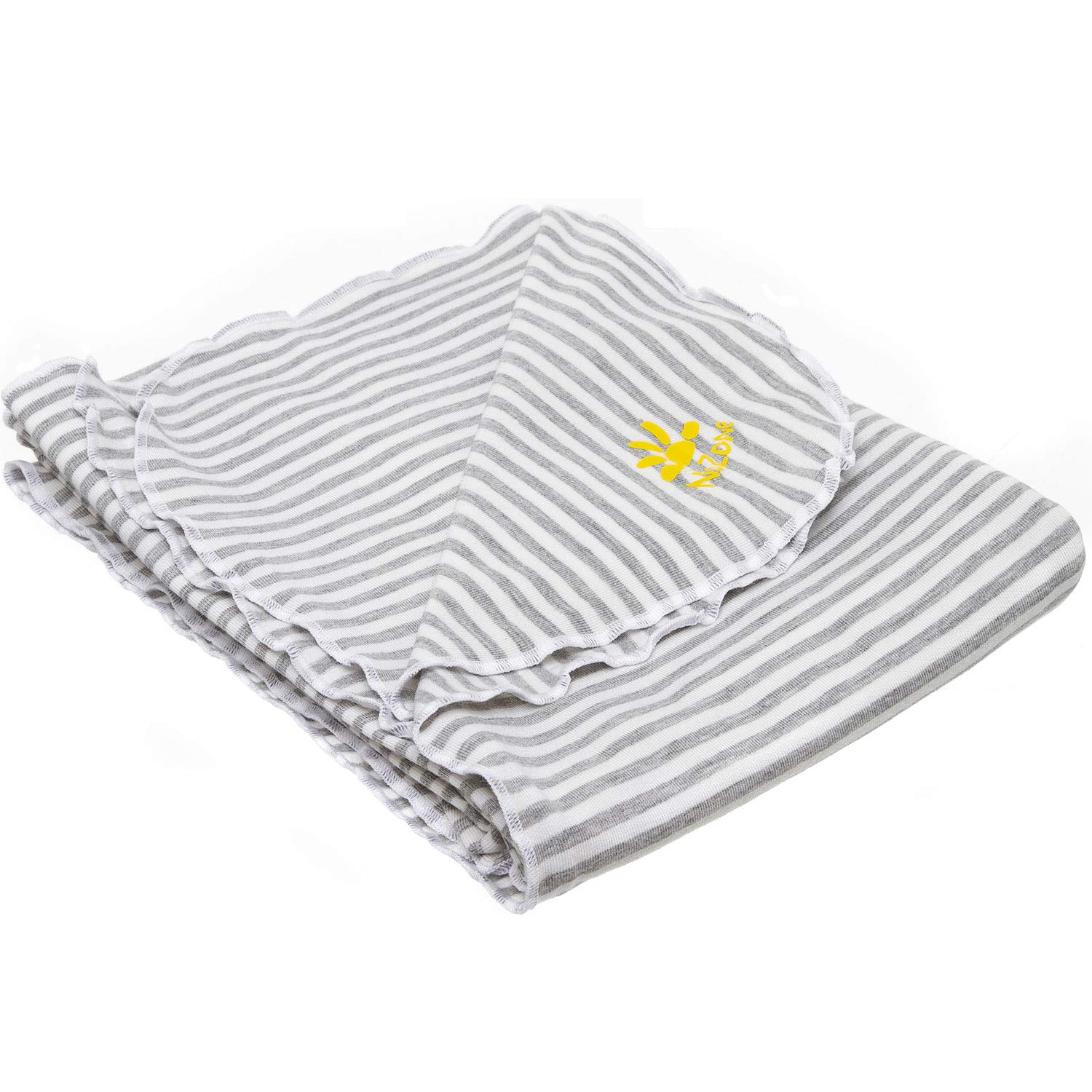 Nozone UPF 50+ Sun Protective Baby Blanket in White/Grey Stripe product image