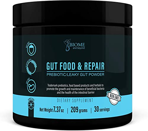 Gut Food and Repair- GI Tract Leaky Gut Repair Powder with Trademark Prebiotics, Glutamine, Marshmallow Root, Slippery Elm Bark, Colostrum, Livaux Actazin- Biome and Beyond