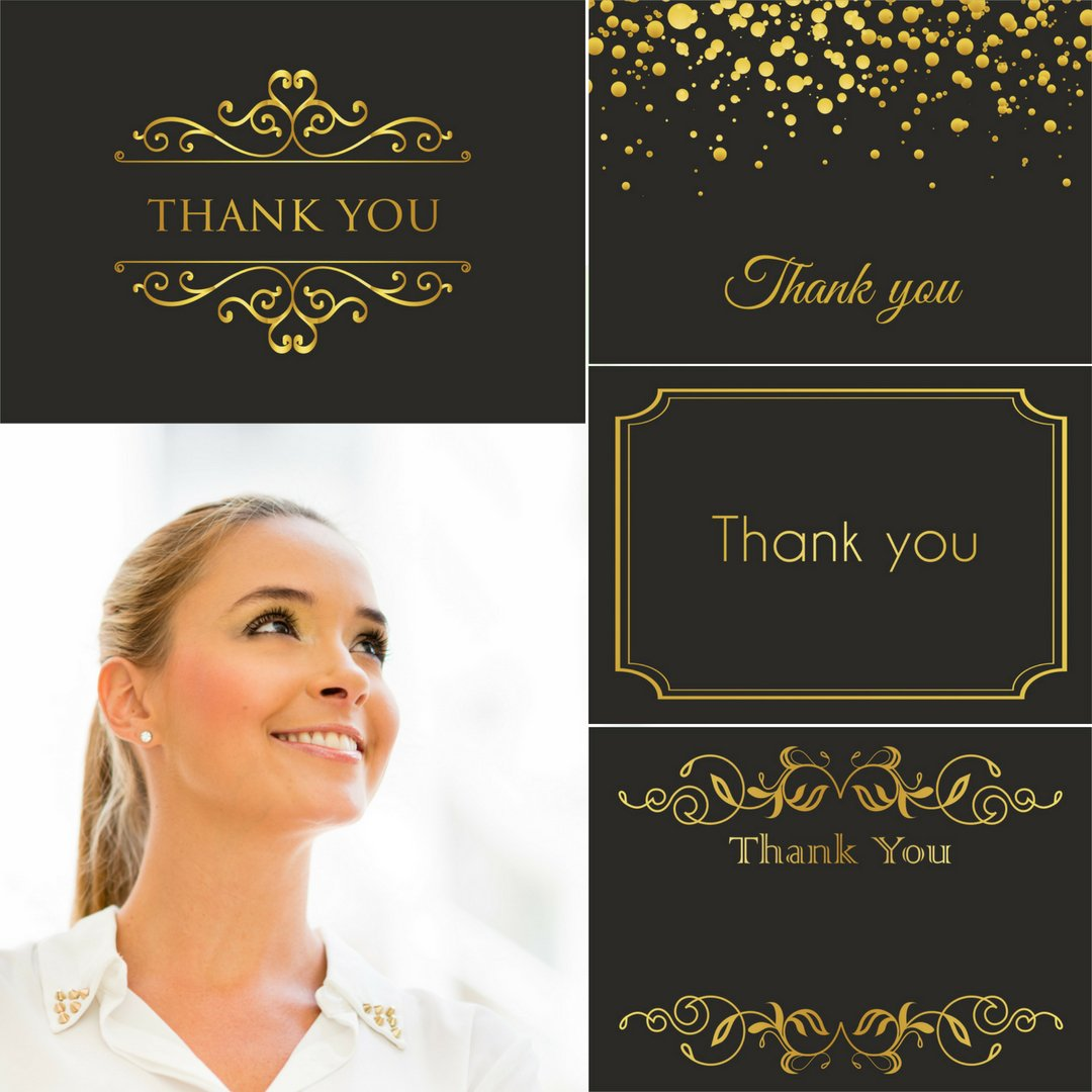 100 Thank You Cards Bulk (BLANK) - Thank you cards with envelopes - 4x6 Photo Size - Black gold foil note cards - Thank you cards wedding, engagement, employee appreciation cards, graduation, birthday