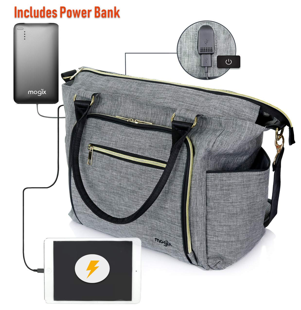 Smart Baby Diaper Bag with Portable Phone Charger, Changing Pad, Wet Dry Bag – Large Tote, Unisex, Best for Rechargeable Breast Pump and Travel