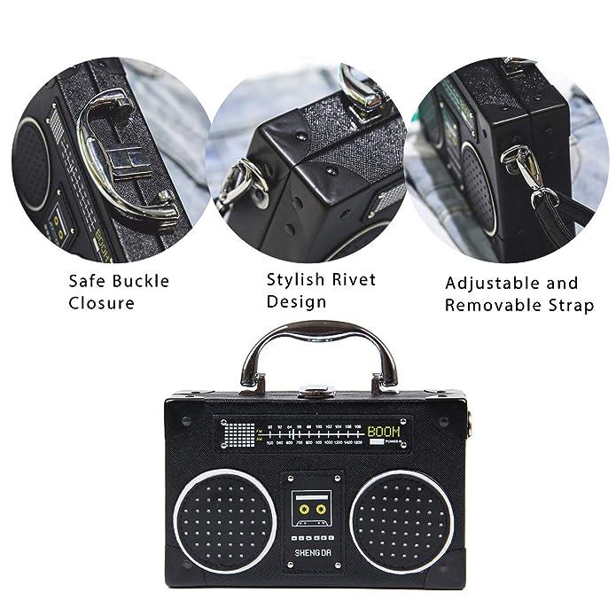 d5919126b126 Oweisong Women PU Leather Radio Camera Crossbody Purse Tote Handbag  Satchels Shoulder Bags