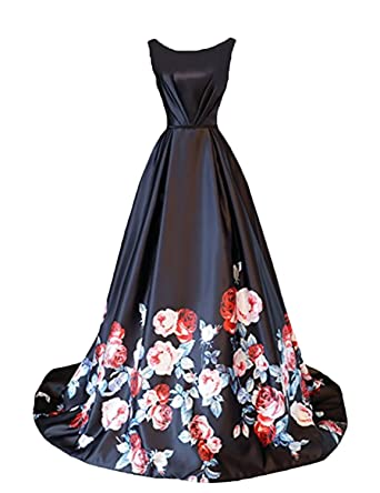 CIRCLEWLD Floor Length Long Printed Wedding Party Evening Gowns Womens Prom Dresses Black Size 2
