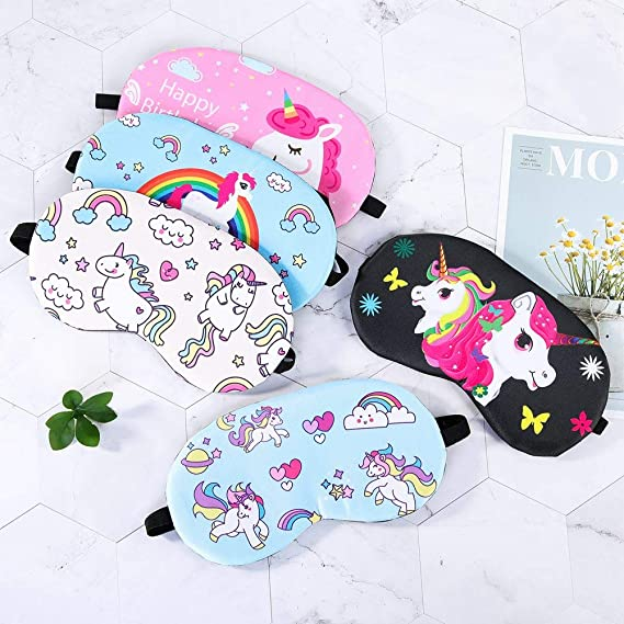 FANTESI 5 Piezas Unicornio Dormir Máscara, Ajustable Linda Ojos Antifaz para Niña Mujeres Niños