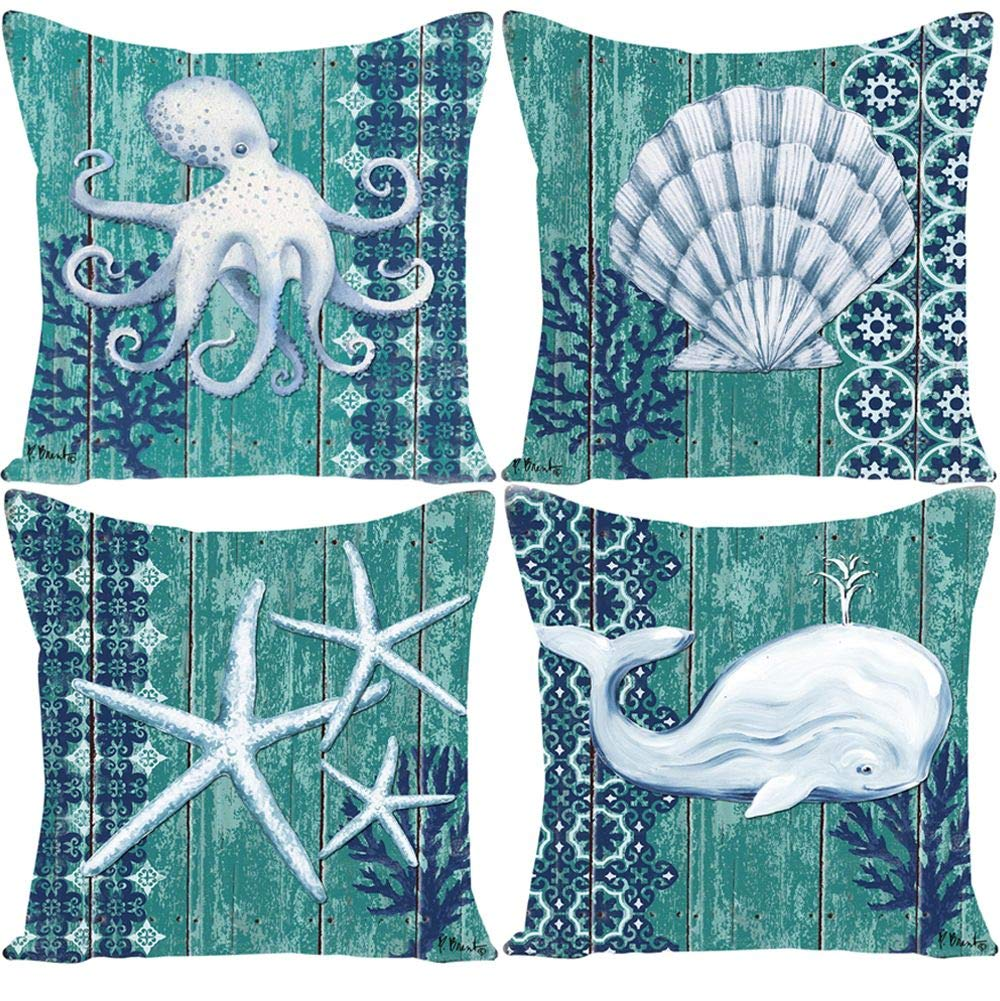 Guhoo Home Decor Throw Pillow Covers Farmhouse Decorative Pillow Cover Car Sofa Square Cushion Cover, 18'' x 18'', Set of 4 (Sea Shells/Starfish/Turtle)