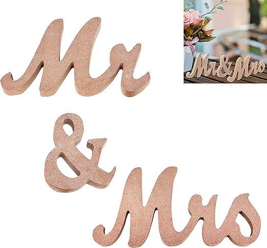 Mr y Mrs Regalos - Cartel de Madera Natural MDF Mr and Mrs Cartel ...