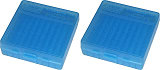 product image for MTM Case-Gard P-100 Series Small Handgun Ammo Box, 100 Round, Clear Blue. 2-Pack
