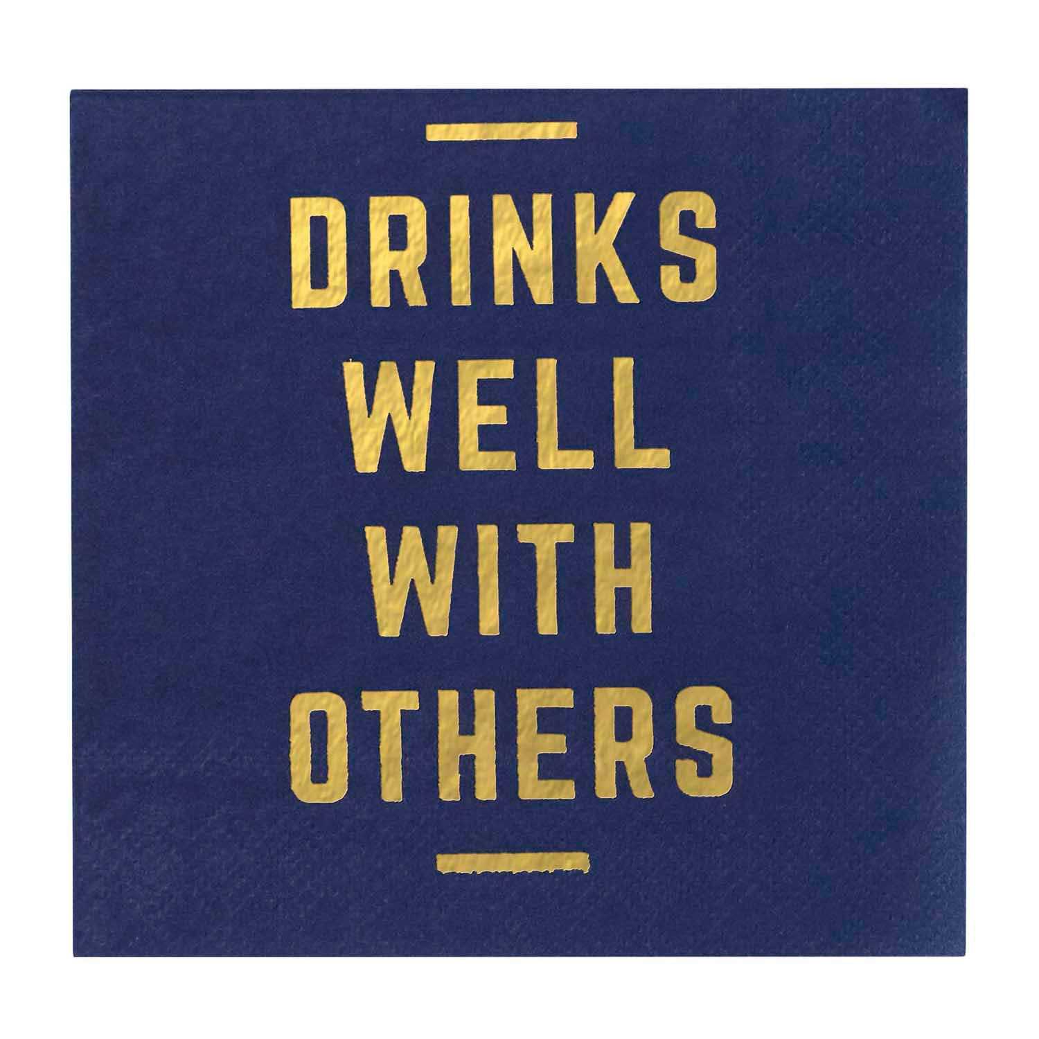 Gibson Blue Drinks Well With Others Paper Cocktail Napkins 5.5 x 5.5 C.R 20pc