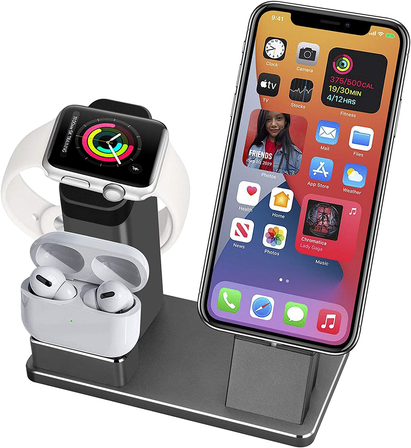 3 in 1 Aluminum Alloy Charging Stand Compatible with Apple Watch Series 5/4/3/2/1, AirPods and Charger Stand Doc Holder for iPhone 12/11/11 Pro/Max/Xs/X Max/XR/X/8/8Plus/7 Plus /6S /Plus