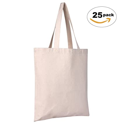 amazon com 25 pack canvas tote bags heavy duty reusable eco