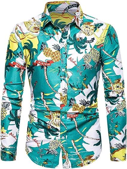 Camisa de manga larga estampada para hombre, estilo casual, estampado floral, ajustada, de manga larga para hombre, casual, camisas elegantes, color verde L: Amazon.es: Oficina y papelería