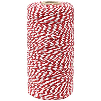 Just Artifacts ECO Bakers Twine 110-Yards 12Ply Striped Cherry Red - Decorative Bakers Twine for DIY Crafts and Gift Wrapping : Office Products