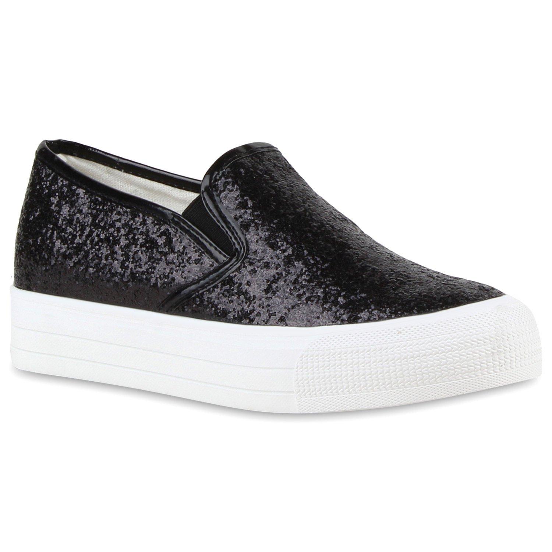 Stiefelparadies Damen Sneaker Slip Ons mit Plateau Glitzer Flandell  36 EU|Schwarz
