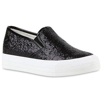 Stiefelparadies Damen Sneaker Slip Ons mit Plateau Glitzer Flandell  Blau Blumen