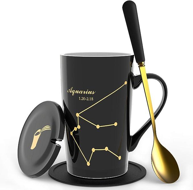 Amazon Com Fullcci 15oz Creative Constellation Aquarius Coffee Mug Set Capacity Upgrade Tea Cup For Cocoa Water Milk Juice Aquarius Black Kitchen Dining