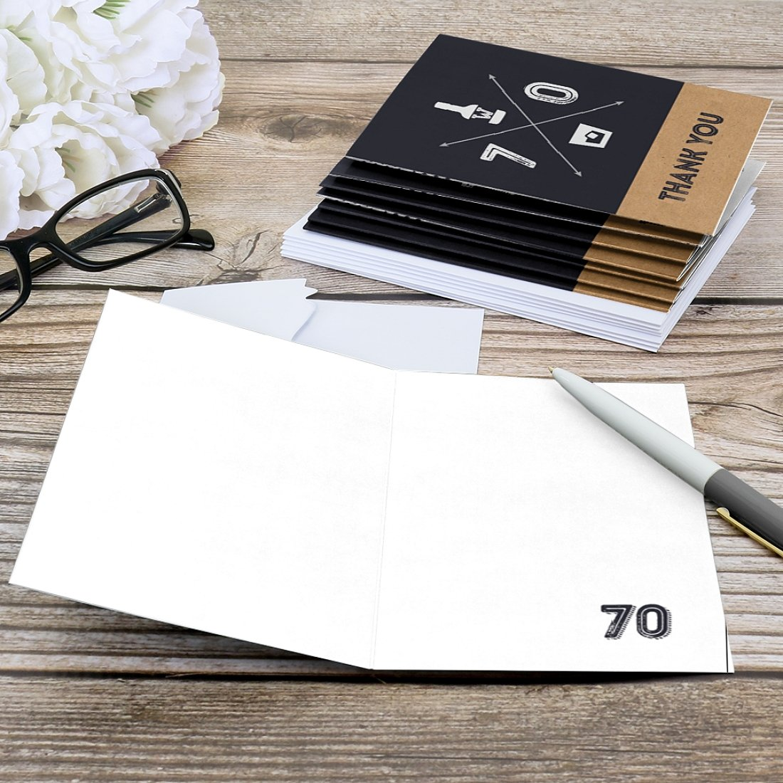 Dashingly Aged to Perfection Birthday Party Thank You Cards 70th Milestone Birthday 8 Count