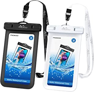 MoKo Waterproof Phone Pouch [2 Pack], Underwater Phone Case Dry Bag with Lanyard Compatible with iPhone 11/11 Pro/11 Pro Max, X/Xs/Xr/Xs Max, 8/7 Plus, Samsung S10/S9/S8 Plus, S10e, S20, Note 10/9/8