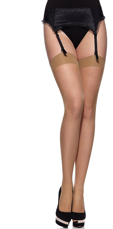 b65d66839d Merry Style Medias Autoadhesivas Finas con Estampado Lencería Sexy Mujer  Lido 20 DEN(Beige Negro