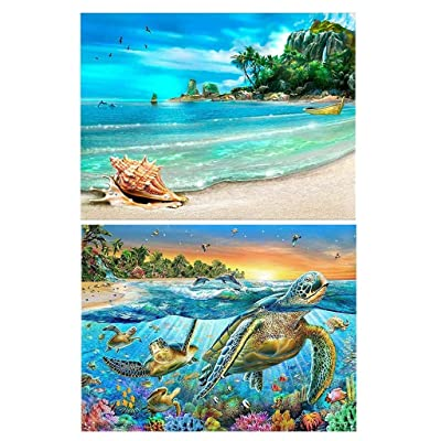 cici store 2Pcs Beach 5D Diamond Painting Kits for Adult,Home Bedroom Wall Decoration Gift: Toys & Games