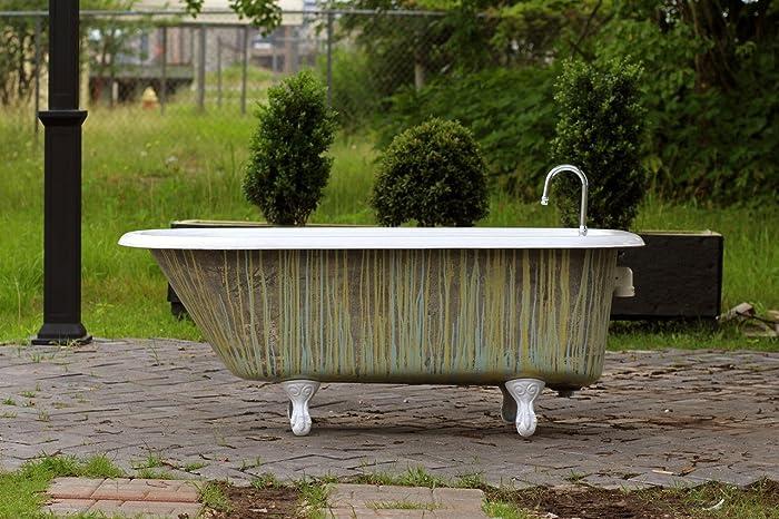 1924 Antique Refinished 5u0027 Clawfoot Bathtub Crane Multi Color Vibrato  Stripe Exterior Cast Iron Porcelain