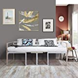 Aingoo Metal Single Day Bed 3ft and Coffee Table with Wooden Board Multifunctional All-in-one Bed Frame