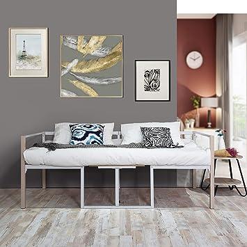 Aingoo Tagesbett Mit Bettrahmen 2 Sitzer Couch Mit Tisch Balkonbank  Gartenbank Integrierter Tisch In Weiß 90