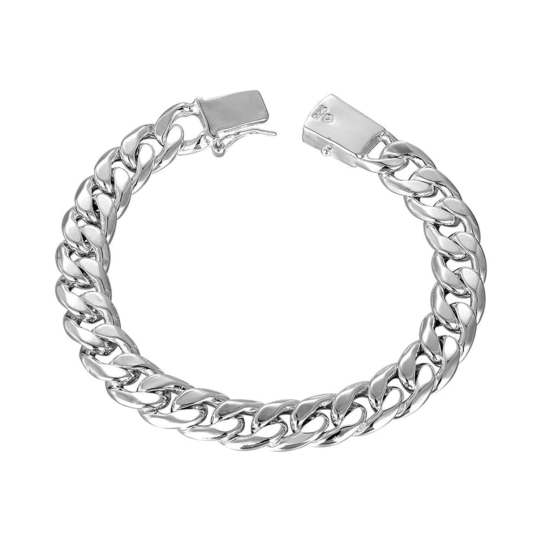 Aokarry Link Bracelet,Wedding Bracelet Bangle Silver Curb Chain n Square Buckle Silver Length 8.4 in