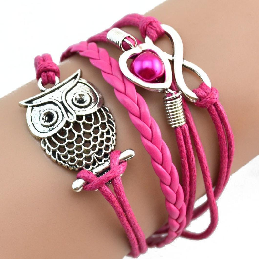 Mingfa.y Pulsera de piel multicapa hot pink bonita pulsera para mujer y ni/ña con dise/ño de b/úho infinito 16CM+4CM