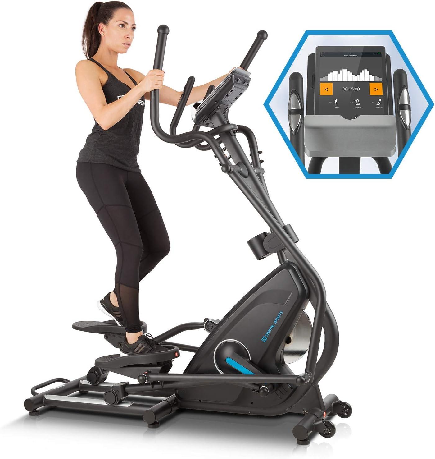 CapitalSports Capital Sports Helix Star DR Bicicleta elíptica obital - Bici elíptica, Compatible con Kinomap, Bluetooth, Volante de inercia de 27 kg, 32 Niveles de Resistencia, Pulsómetro, Ordenador