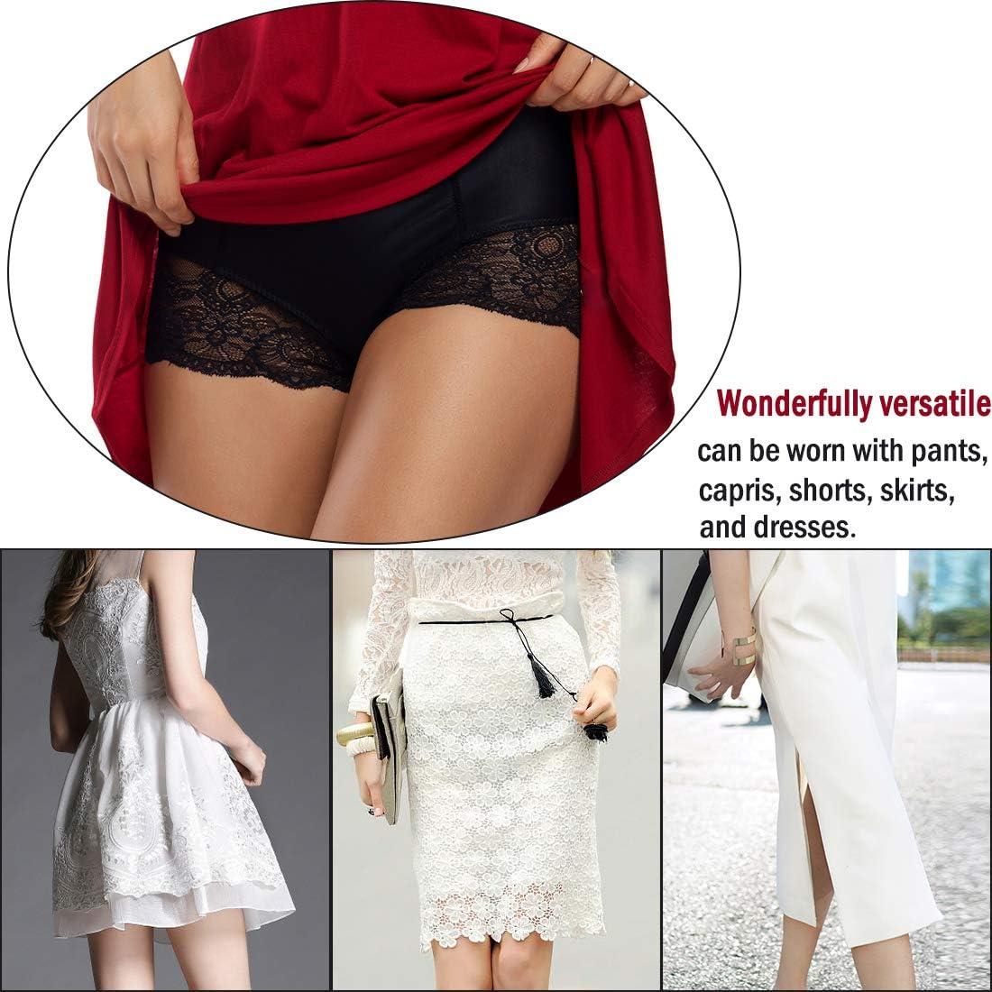 Lace Panties for Women Full Coverage Boy Shorts Under Dress Mid Waist Light Tummy Control Underwear Nylon