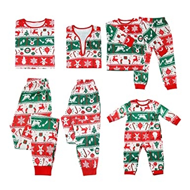 3c98f91c38 Amazon.com  PatPat Family Matching Two Pieces Pajamas Set Christmas Deer Snowflake  Printed Jammies Sleepwear for Kids Adult  Clothing