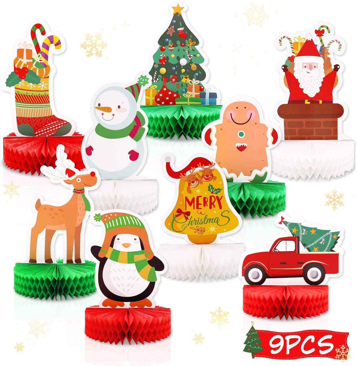 Amazon Com Christmas Honeycomb Centerpieces For Christmas Party 3d Table Decorations Snowman Santa Reindeer Christmas Tree Red Car Gingerbread Stockings Bell Penguin Merry Christmas Winter Holidays Supplies Toys Games