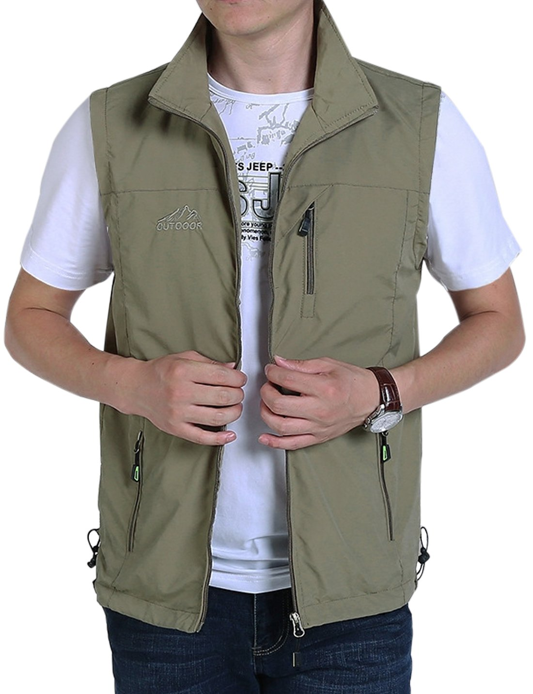 Gihuo Men's Casual Outdoor Stand Collar Lightweight Quick Dry Travel Fishing Sports Vest Outwear (Khaki, Large)