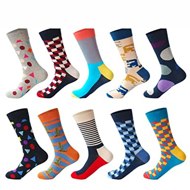 PinkBTFY 10Pairs/Lot Funny Socks Men Calcetines Gifts Colorful Designer Brand Happy Socks Mix1 One