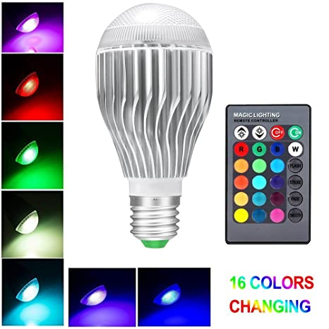Bombillas Colores Led 10W E27, LifeBee RGBW LED Bombilla 16 Color Cambiantes Lámpara con Mando